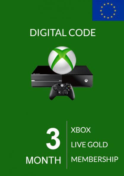 EU Xbox Live: 3 месяцев, золотой статус (Xbox One & 360)