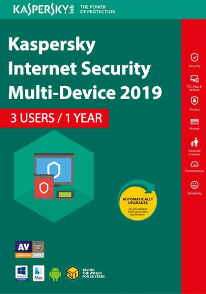 Kaspersky Internet Security Multi-Device 2019 (3 пользователя, 1 год)