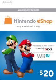 USA Nintendo eShop: подарочная карта на 20 долларов