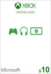 USA Xbox 10 долларов подарочная карта