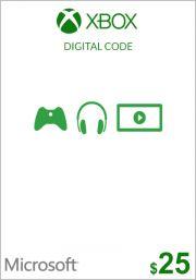 USA Xbox 25 долларов подарочная карта